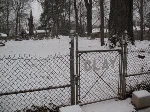 Cemetery gate, January 2014