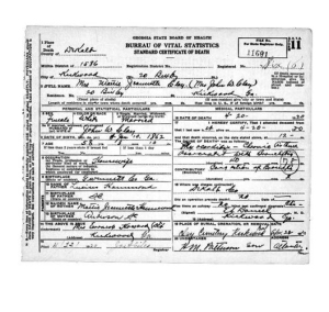 Mattie Jeannette Clay Death Certificate