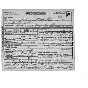 Eliza Webb Death Certificate