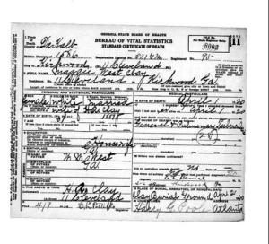 Maggie West Clay Death Certificate